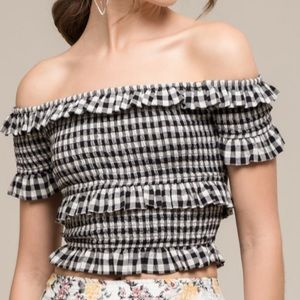 Off the shoulder Gingam Top